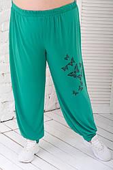 Штаны шаровары женские для полных из масла зеленые