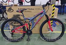 """Горный велосипед Azimut Power 26 дюймов. Дисковые тормоза. Рама 19.5"""" Серо-красный"""