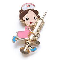 Брошка «Медсестра в рожевому платті».
