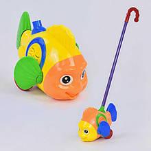 """Каталка """"Рыбка"""" на палочке, с погремушкой, двигает плавниками, в п/э /96-2/"""