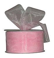 Лента органза Розовая 5 см 23 м/бобина, фото 1