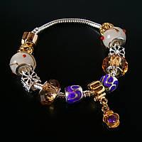 Женский браслет Pandora (Пандора) бело-золотой