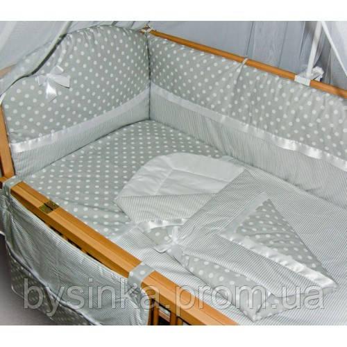 """Детское постельное белье в кроватку из 9 и ед."""" Серый горох+полоска """""""