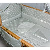 """Детское постельное белье в кроватку из 9 и ед."""" Серый горох+полоска """", фото 1"""