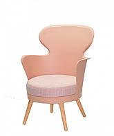 Кресло пластиковое с мягким сидением и деревянными ножками Onder Mebli ARMIN РОЗОВЫЙ 68
