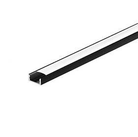 Черный профиль накладной с матовым рассеивателем  LP-7В (за 1м) Код.59800