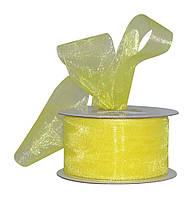 Лента органза Желтая 5 см 23 м/бобина, фото 1