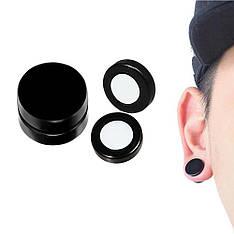 Мужские круглые черные серьги плаги обманки на магните 6 мм