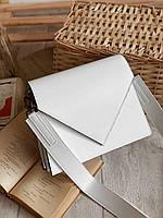 Сумка жіноча біла з широким ремінцем жіноча сумка кроссбоди через плече модні новинки біла крос боді, фото 1