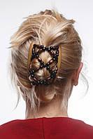 Этническая заколка для волос African butterfly Ndebele на основе 2-х гребней бежевая, фото 1