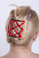 Этническая заколка для волос African butterfly Ndebele на основе 2-х гребней бежевая