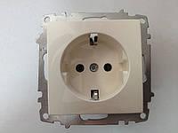Розетка ZENA СП-1 с заземляющем контактом белая модуль, фото 1