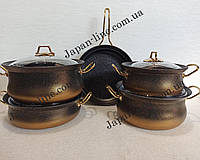Набор посуды O.M.S. Collection 3045 gold  ( 4 каст. 3 л. 3,4 л. 4,8 л. 6 л. + сковорода 26 см)