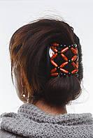 Этническая заколка для волос African butterfly Ndebele на основе 2-х гребней коричневая