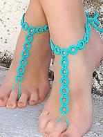 Вязанные браслеты на ноги, фото 1