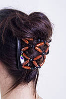Этническая заколка для густых волос African butterfly Ndebele на основе 2-х гребней черная