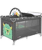 Детский Манеж-кроватка 2 уровня, пеленатор, дуга с игрушками CARRELLO Molto
