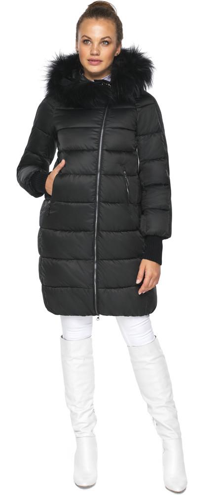 Куртка на змейке женская черная модель 42150