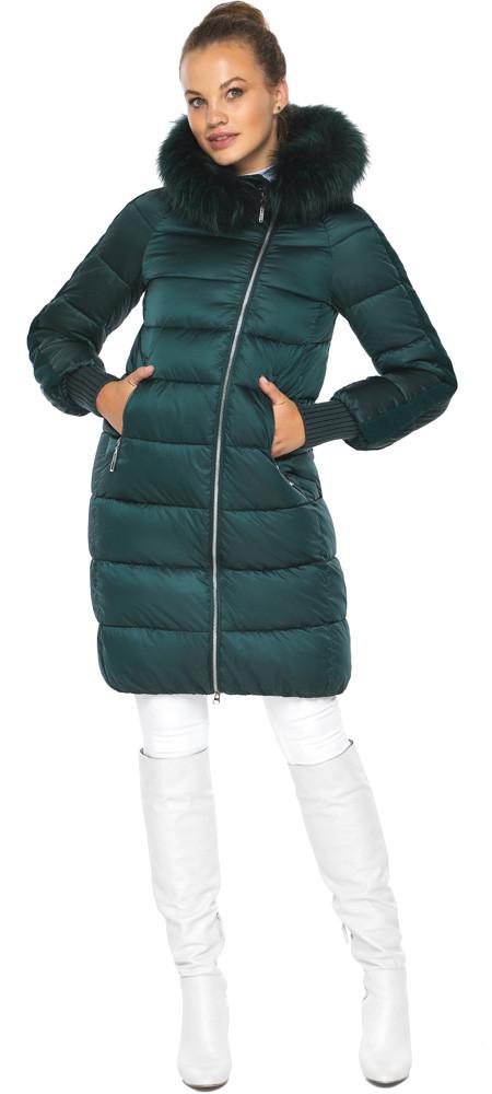 Смарагдова куртка жіноча з капюшоном модель 42150