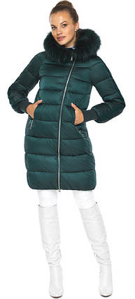 Смарагдова куртка жіноча з капюшоном модель 42150, фото 2