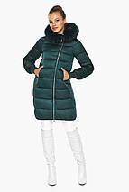 Изумрудная куртка женская с капюшоном модель 42150, фото 2