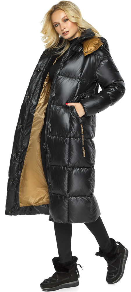 Тепла куртка жіноча чорна модель 42830
