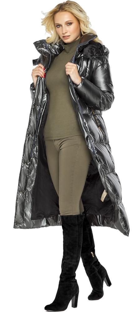 Жіноча куртка з кишенями колір темне срібло модель 42830