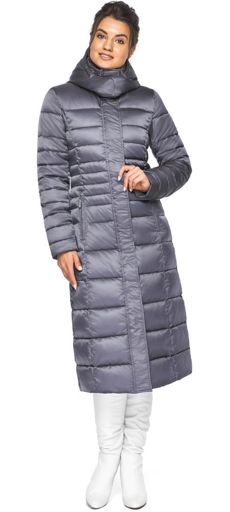 Жіноча куртка тепла колір перлинно-сірий модель 43575