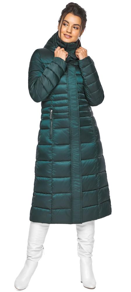 Смарагдова куртка жіноча з трикотажними манжетами модель 43575
