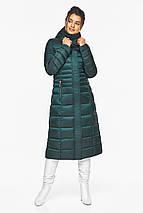 Смарагдова куртка жіноча з трикотажними манжетами модель 43575, фото 2
