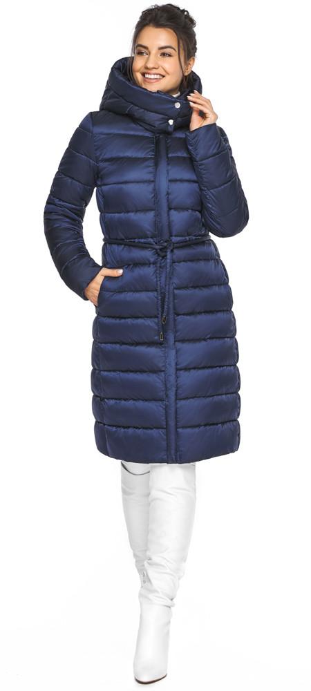 Куртка з вітрозахисною планкою жіноча колір синій оксамит модель 44860