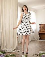 Льняное платье в горошек белое