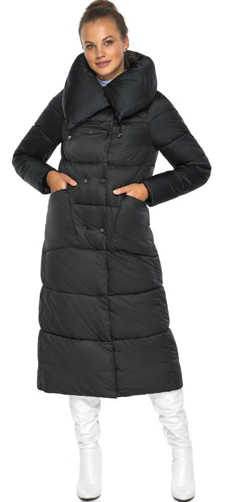 Черная куртка женская длинная модель 46150