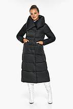 Чорна куртка жіноча довга модель 46150, фото 2