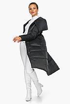 Чорна куртка жіноча довга модель 46150, фото 3