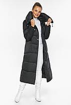Черная куртка женская длинная модель 46150, фото 3