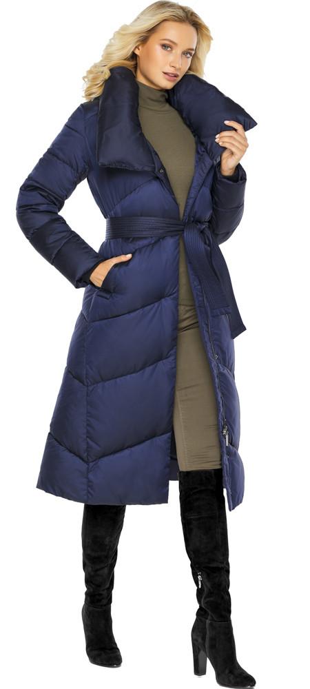 Куртка з коміром жіноча колір синій оксамит модель 47260