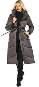Капучиновая куртка женская с брендовой фурнитурой модель 47260