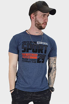 Футболка мужская серо-синяя Уценка 132851S