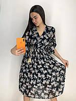 """Красивое модное летнее шифоновое платье до колена с юбкой плиссе """"Quincy"""" - универсальный р-р 42-46 + замеры"""