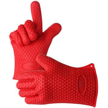 Термостійкі силіконові рукавички для кухні Нot hands, Червоні жаростійкі рукавички прихватки для гарячого (SV)