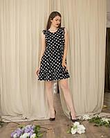 Платье льняное в горошек черное