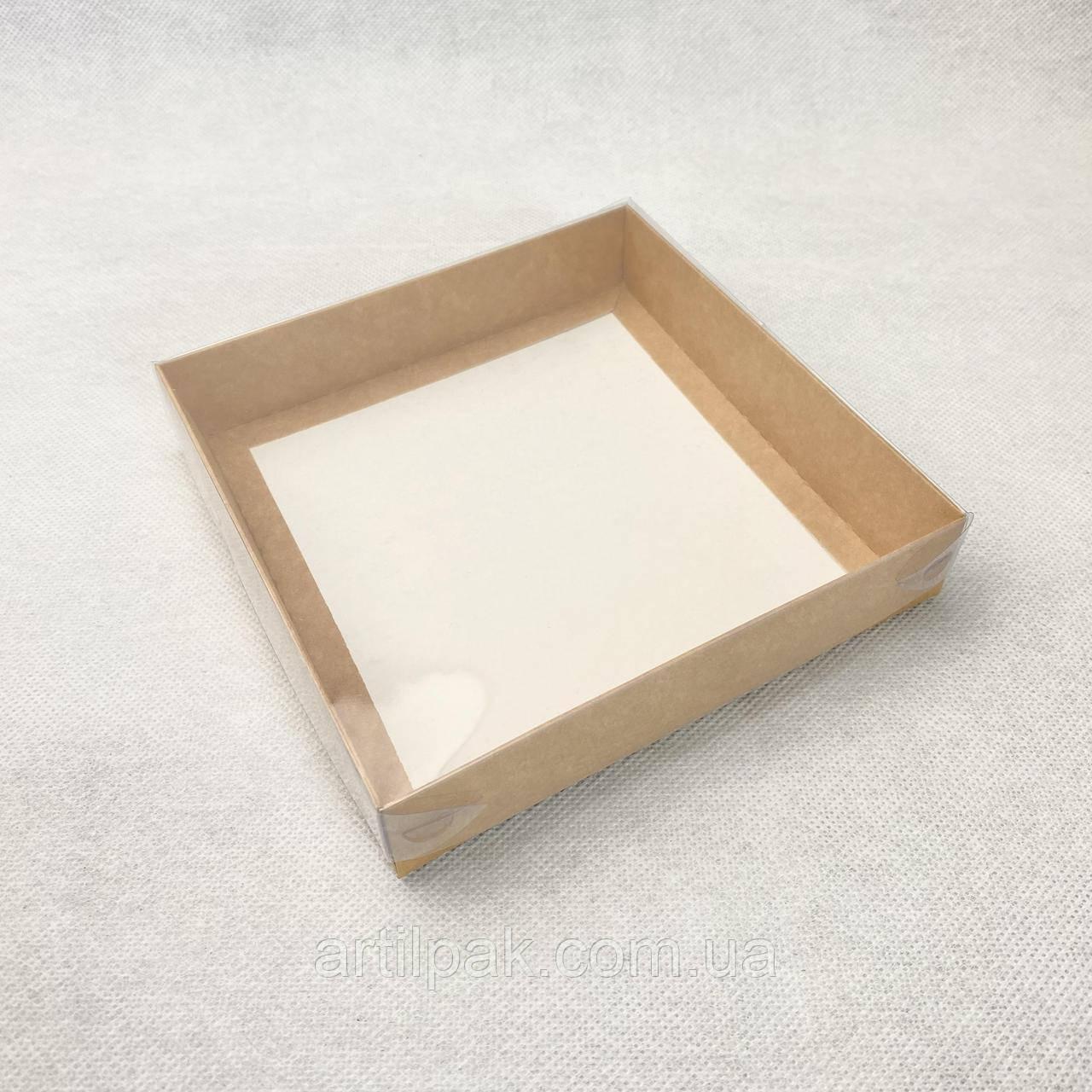 Коробка 150*150*30 КРАФТ з кришкою ПВХ