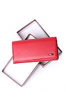 Шкіряний жіночий червоний гаманець Cardinal портмоне на магніті клатч з натуральної шкіри, фото 2