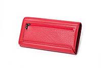 Шкіряний жіночий червоний гаманець Cardinal портмоне на магніті клатч з натуральної шкіри, фото 4