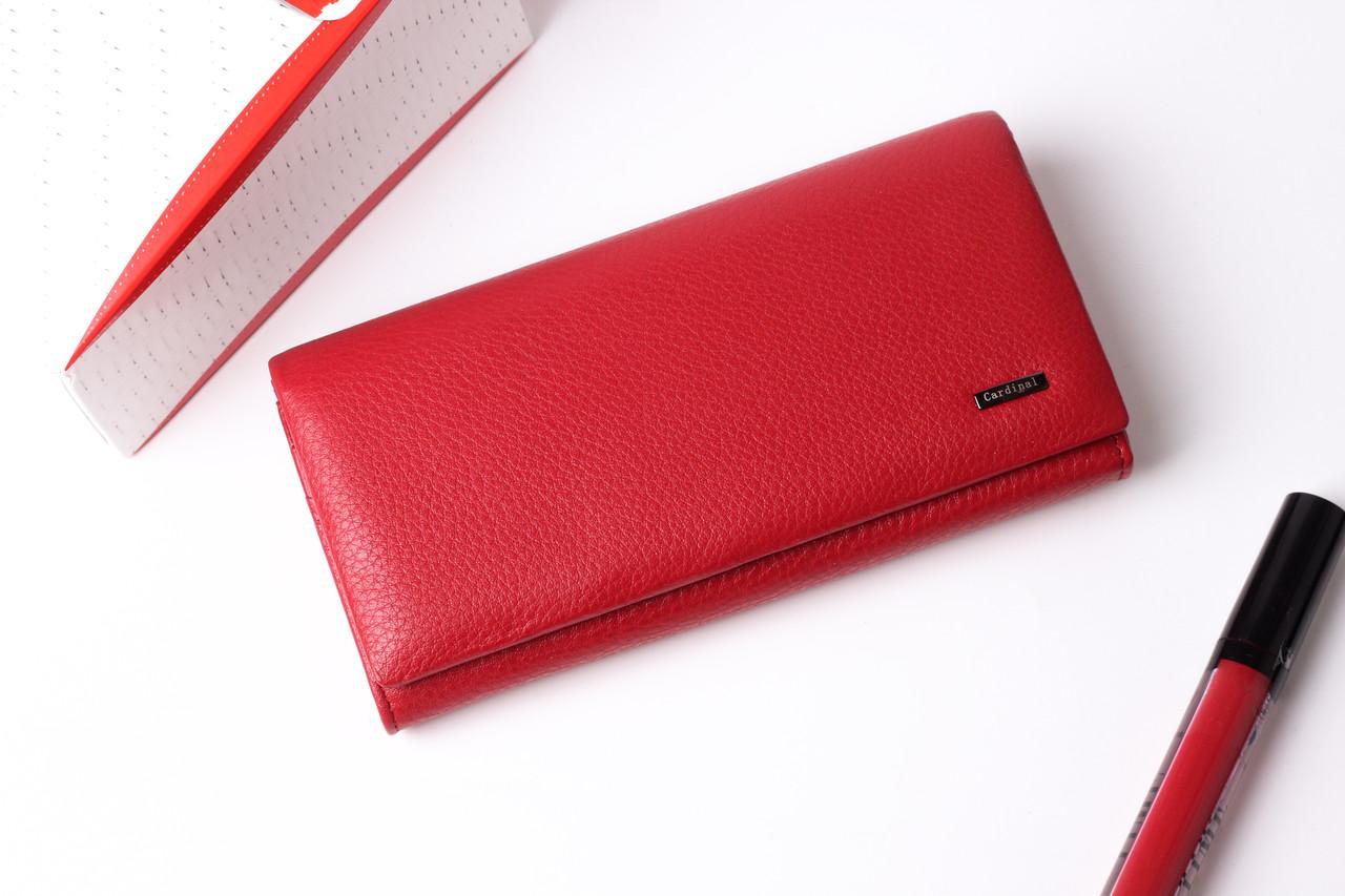 Шкіряний жіночий червоний гаманець Cardinal портмоне на магніті клатч з натуральної шкіри