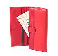 Шкіряний жіночий червоний гаманець Cardinal портмоне на магніті клатч з натуральної шкіри, фото 5