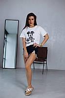 Жіноча бавовняна футболка з накатом білий