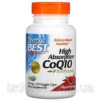 Doctor's Best, Легкоусвояемый CoQ10 (коэнзим Q10) с комплексом BioPerine, 100 мг, 120 растительных капсул