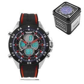 Годинники наручні QUAMER 1103-Box, двоколір. ремінець каучук, dual time з подарунковою коробкою